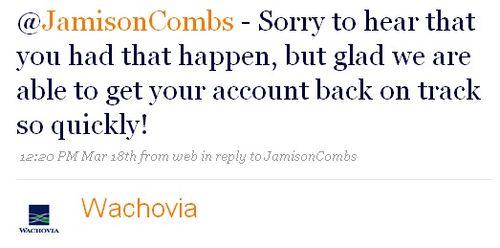 Wachovia Tweet